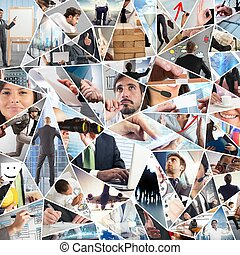 Business life collage - Women and men in their business life