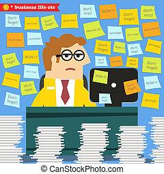Business life. Hard work in progress, paperwork piles around the desk vector illustration
