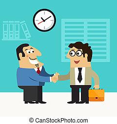 Business life chief executive hires employee handshake scene concept vector illustration