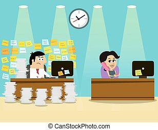 Business life man girl scene - Business life hard worker man...