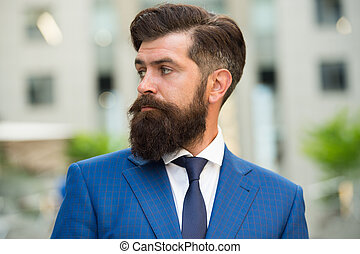 Business life. Man stylish businessman. Successful and motivated for success. Business man bearded wear fashionable suit. Businessman well groomed hairstyle beard. Business concept. Feel confident.