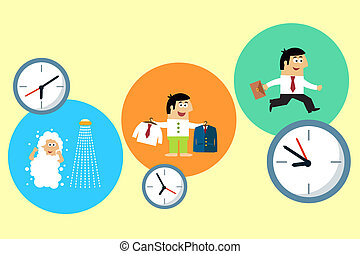 Business life. Manager starting his busy workday vector illustration