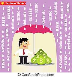 Business life. Money risk management, protection of investments or revenue vector illustration