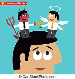 Business life. Moral choice, business ethics and temptation concept vector illustration