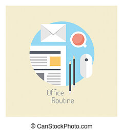 Flat design vector illustration concept with long shadow effect of modern office workflow, business lifestyle and routine office daily activity poster. Isolated on stylish color background