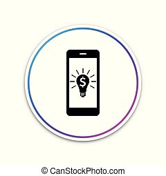 Business light bulb with dollar on smartphone screen icon isolated on white background. User touch screen. Circle white button. Vector Illustration