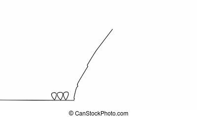 business, ligne mince, soi, continu, dessin, pen., animation, icône