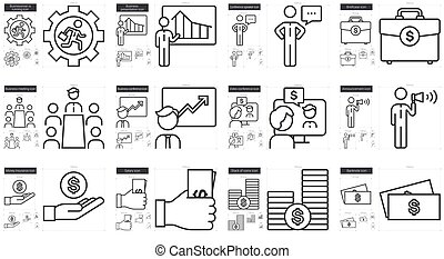 Business line icon set.