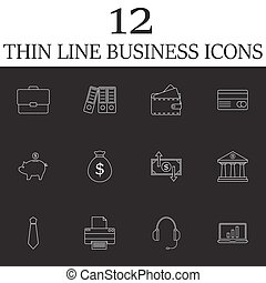 Business line icons set, finance outline vector symbol collectio