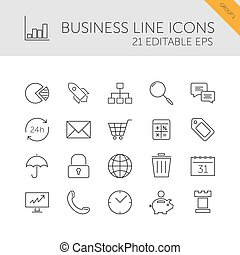 Business line icons set on a white background