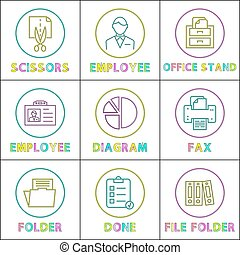Business Linear Bright Round Icons Templates Set