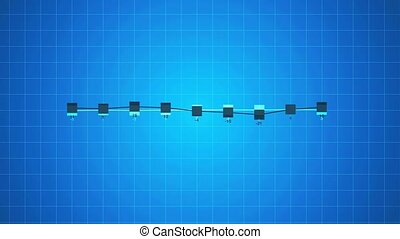 Business linear chart infographics abstract animation on blue background.