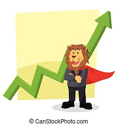 business lion heroes standing front graphic
