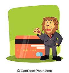 business lion with giant credit card