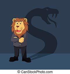 business lion with shadow snake