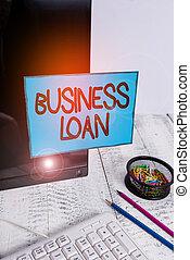 business, loan., écriture, crédit, noir, espèces, assistance, photo, main, avances, texte, stationary., conceptuel, hypothèque, projection, financier, note papier, enregistré, écran, clavier, dette