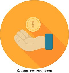 Business Loan - Money, hand, currency icon vector image. Can...