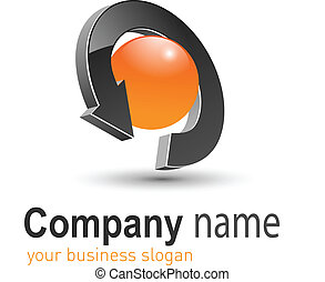 Business logo, 3D arrow and circle orange and black, vector.
