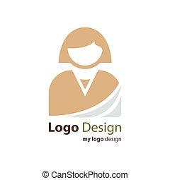 business, logo, avatar, couleur, brun