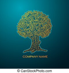 Business logo elegant gold tree