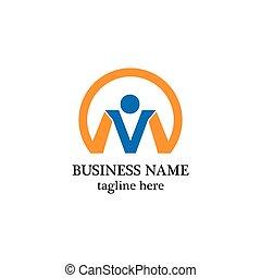 business, logo, gens, lettre m