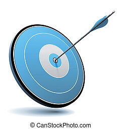 One arrow hit the center of a blue target, vector image suitable for business or marketing logo