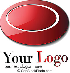 Business logo, red glossy ellipses , vector.