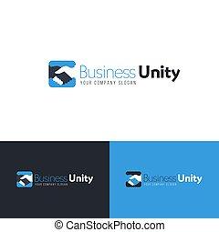 Business logo template with handshake. Vector design.