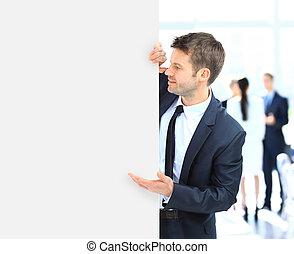 business, long, tenue, vide, bannière, homme