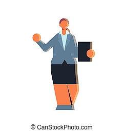 business, longueur, entiers, tenue, pose, femme affaires, ...