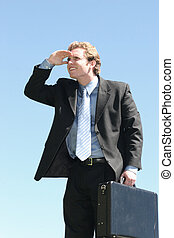 Business lookout - Business man looking off into the...