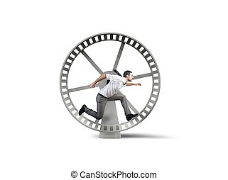 Concept of business loop with running businessman