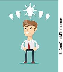 business, lumière, concept., idée, personne, clair, ampoule, avoir