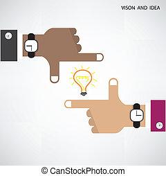 business, lumière, concept., signe, homme affaires, mains, ampoule, vision