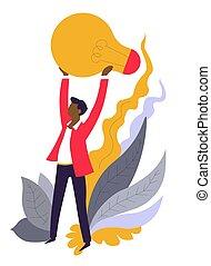 business, lumière, idée, tenue, ampoule, homme affaires, avoir