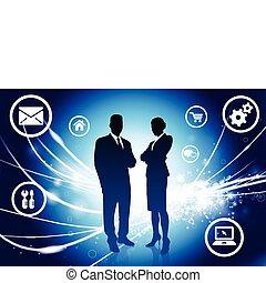 business, lumière, résumé, moderne, fond, couple
