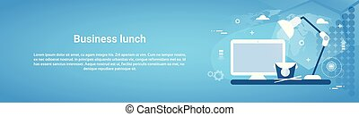 Business Lunch Break Concept Web Horizontal Banner With Copy Space