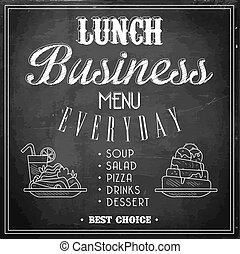 Business Lunch Menu on a Chalkboard. Vector Illustration.