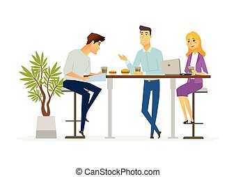 Business Lunch - modern vector cartoon characters illustration