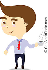 business lunch, isolated smiling businessman with hot coffee cup