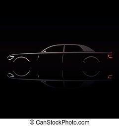 Business luxury prestige car in the dark background.