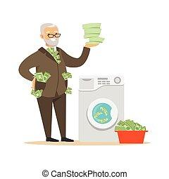 business, mûrir, vecteur, homme, argent sale, blanchir, argent, complet, corrompu, illégal, illustration, confiant, lavage