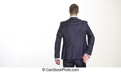 business, maillot, arrière-plan., language., geste, isolé, colère, managers., mains, derrière, back., saisir, sang-froid, sien, formation, forearm., homme, ventes, agents., blanc