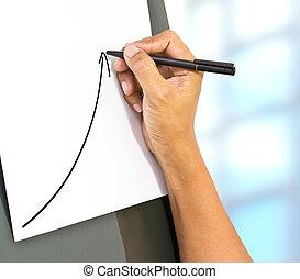 business, main, dessin, a, levée, flèche, représenter, croissance affaires
