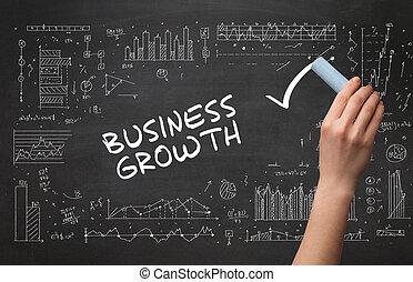 business, main, dessin, nouveau, concept