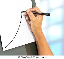 Business, main, flèche, croissance, levée, Représenter, dessin