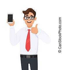 business, main, mobile, style de vie, pouces, smartphone., bon, dernier, tenue, technologie, nouveau, aimer, numérique, signe., cellule, positif, consentir, haut, moderne, gesturing/making, homme, projection, approuver, marque, téléphone