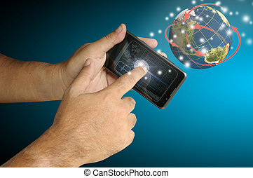 business, main, téléphone, toucher, intelligent, homme