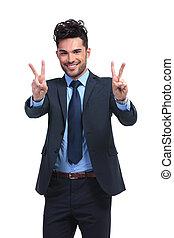 business, main, victoire, confection, sourire, geste, homme