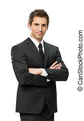 business, mains traversées, portrait, court, homme